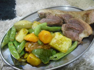 Buttered Vegetables With Seared Pork Chop