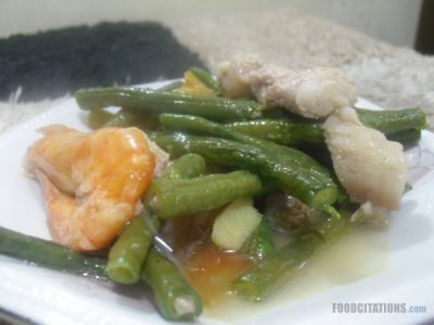 Sauteed String Beans, Pork and Shrimp